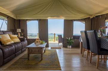 From the inside and the outside of this spacious safari tent, the views are simply stunning.