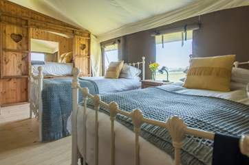 The twin bedroom with double cabin bed beyond.