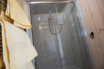 And a shower-room with double-sized shower and heated towel rail.