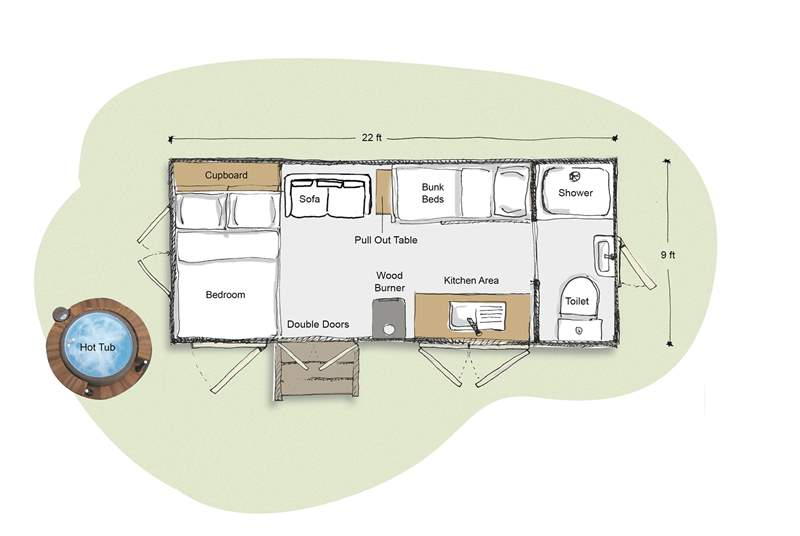 The planned layout of this gorgeous hut retreat.