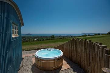 What a fabulous place to relax in the hot tub and watch the world go by on the sea and countryside below.