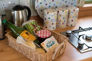 The lovely welcome basket supplied by the owners.