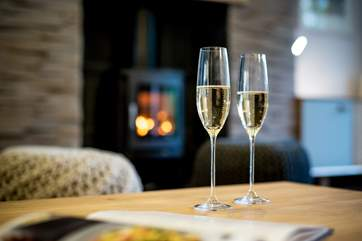 A glass of bubblly in front of the fire perhaps before dinner.