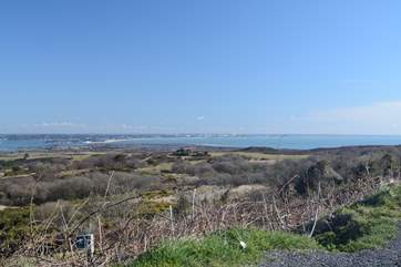 From the Isle of Purbeck, looking back across Poole Harbour and Bournemouth Bay.