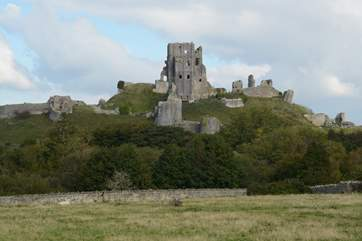 Imposing Corfe Castle dominates the pretty village of Corfe.