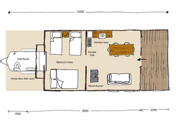 This floor plan shows the layout of this spacious safari tent. The adjoining quirky wet room, once a horse box, has a shower, flushing WC and wash basin.