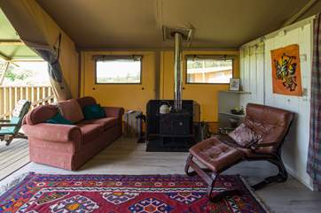 Plenty of space and luxury for your glamping adventure and a cosy wood burner for chilly evenings.