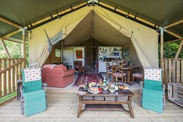 This fabulous African-themed tent has plenty of space and wait until you see the en-suite!