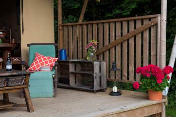 The deck is perfect for relaxing with a good book.