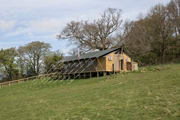 This shows the shower-room and cloak-room at the back of the tent, the front deck looks out over the Blackmore Vale.