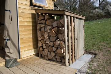 Plenty of logs for the wood-fired range (logs are inclusive).