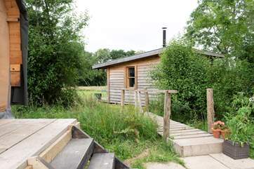 Available if you have booked the whole site along with The Bothy, the Chuck Wagon contains a WC and separate small kitchen.
