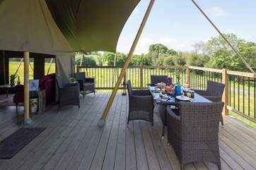Room for all the family to laze on the decking with a leisurely breakfast.