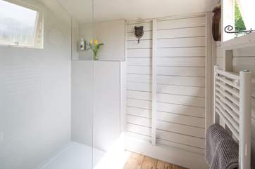 The large shower has plenty of space for sandy or muddy little ones and a heated towel rail, for warm soft towels.