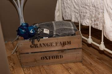 The owner has thoughtfully provided hot water bottles and blankets for the chillier months.