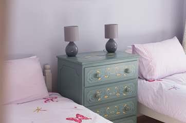 A pretty painted chest in Bedroom 3.