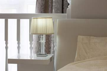 The bed furnishings are of very high quality.