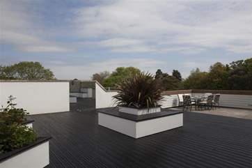 The decked roof terrace which is not overlooked.