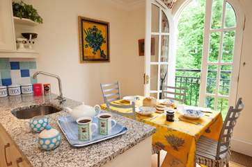Bright and cheerful, this is the perfect spot for morning coffee.
