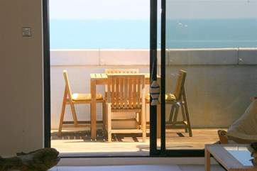 The balcony off the living room gives stunning views over the Solent.