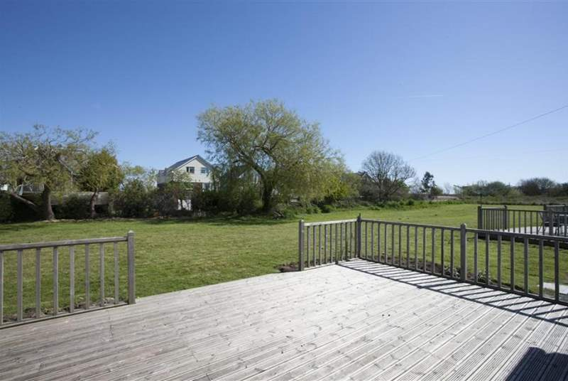 The back deck is perfect for sitting in the sun or having a picnic.