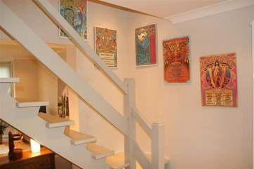 Artwork over the stairs.