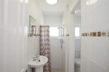 Family shower room with adjacent WC