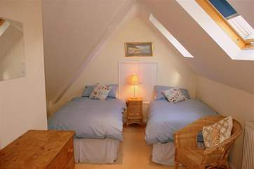 The twin bedroom is in the loft, on the second floor, lovely and spacious, a real hideaway for the teenagers