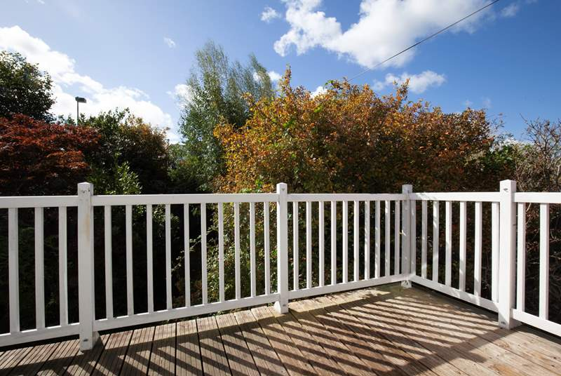 The sunny decking at the rear of the property