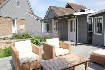Garden seating outside the annexe