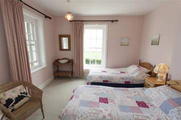 Twin bedroom on first floor with sea views