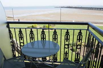 Plenty to see from the little balcony with bistro dining table