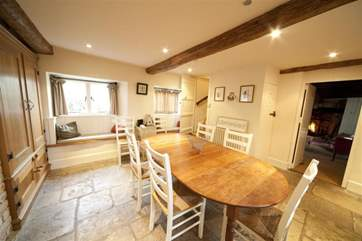 Plenty of dining space in the flagstone kitchen