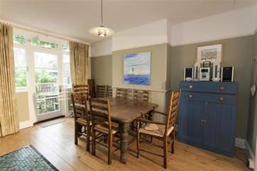 The dining area is open plan with the living room