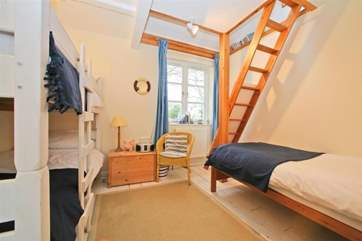 The family bedroom on the first floor. Please note that the ladder is not for guest use