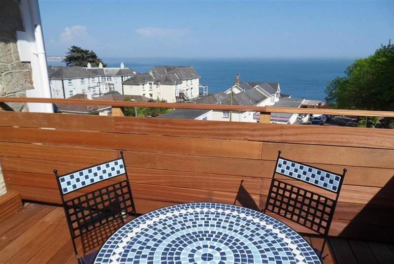 Enjoy the decked roof terrace with sea views.