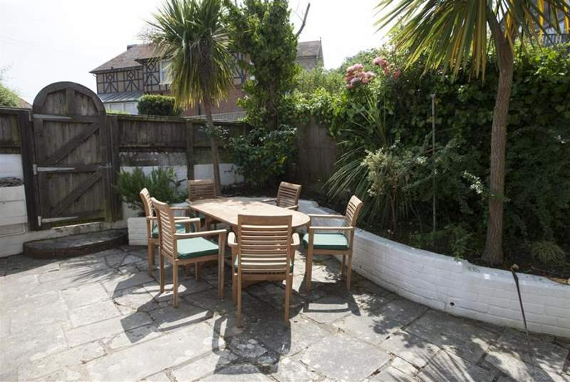 Enjoy al fresco dining on the sunny patio.