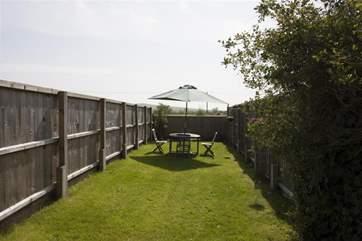 The sunny enclosed garden.