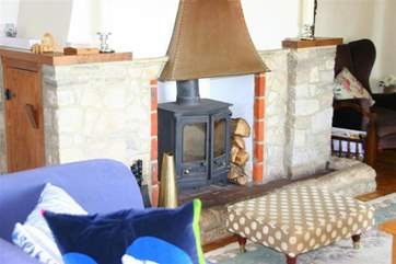 Log burner in living room