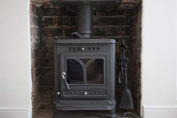 The woodburning stove.