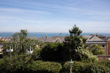 Views from Ivy Bank across the rooftops and out to the sea.