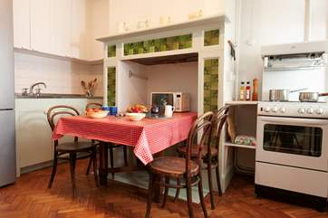 The eat-in kitchen is perfect for a hardy breakfast before a day at the beach.