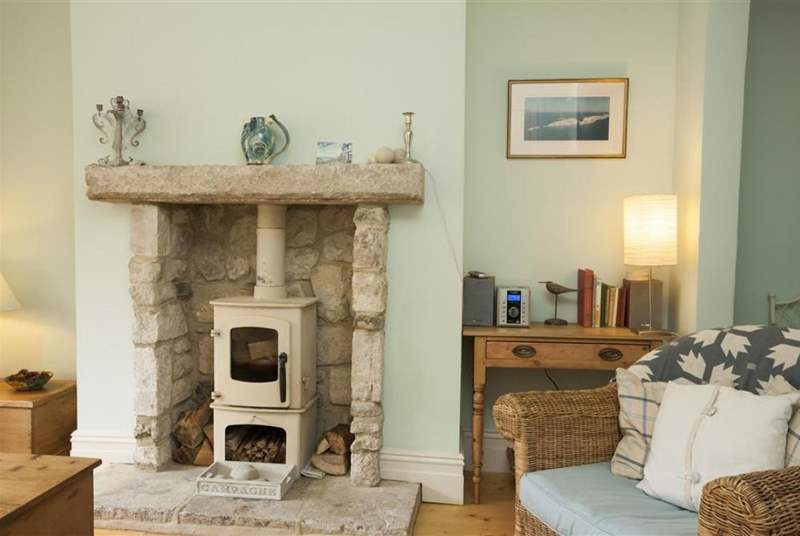 The Wood burner in living room creates a lovely cosy atmosphere