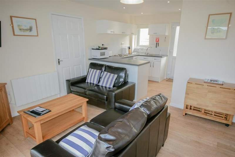 Living area through to kitchen_Little Egret Cottage