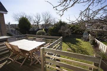Raised decking and outside dining area