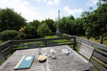 A back deck is a quiet place to relax with a glass of wine or cup of tea.