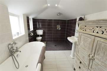 Family bathroom with open wet room shower