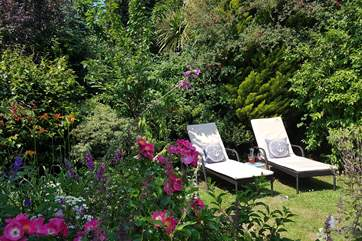 The lovely garden in full bloom i the perfect place to enjoy the sunshine