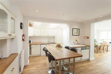 Dining area in open plan kitchen
