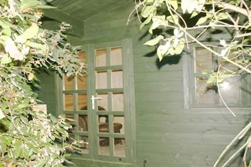 Chalet bedroom at the bottom of the enclosed garden